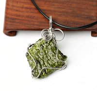Human body natural green meteorite pendant necklace crystal