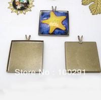 antique bronze  25mm square pendant base for necklace pendant