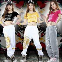 Ds costume hiphop hip-hop hiphop jazz print ultra-short bare midriff top 8118