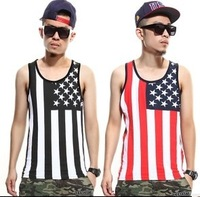 Dj clothes american flag skateboard hiphop hip-hop hiphop bboy loose vest