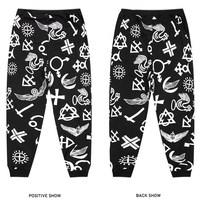Punk vintage harem pants fashion casual hip-hop west coast trousers cashew flowers