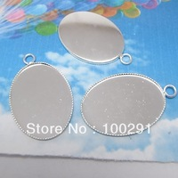 silver color pendant base  30*40mm oval columns setting DIY jewelry finding