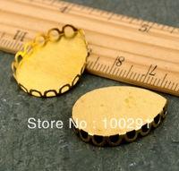 free shipping  bracelet blank  #25  20mm tear drop  antique Brass Curved Hollow Edge Bezel Dome Setting Base PICK
