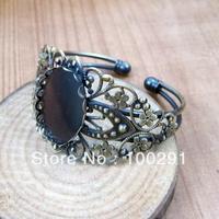 free shipping 1999365  bracelet blank  antique brass lace flower  edge   18*25mm oval  stone base