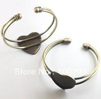 free shipping  bracelet blank  ####988  Antiqued Bronze 25mm heart blank settings bangles