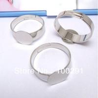 300PCS Silver Tone Ring Base Blank Glue-on 12mm PAD