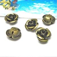 16mm metal rose flower antique bronze DIY jewelry finding