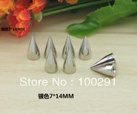 100pcs !!Wholesale!! 7*14mm  Silver Metal Spike Studs Rivet Punk Bag Leathercraft DIY