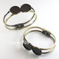 free shipping  20pcs/lot  25mm round  antique Brass Bracelet with 2 pad,  bracelet blank 20pcs/lot