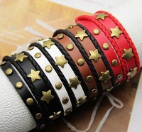 bracelet Accessories vintage rivet long design multi-layer   genuine leather Bracelet (4 color optional) 2 packages mailed