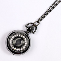 Retro Black Men Women Electronic Quartz Pocket Watch with Crystal Rhinestone