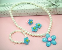 Free Post   Sunflower High imitation Jane children jewelry sets necklace bracelet 5  Multicolor    jyp47