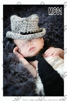 Free shipping gentleman baby hat and Tie handmade crochet photography props newborn baby cap and tie
