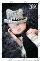 Free shipping gentleman baby hat and Tie handmade crochet photography props newborn baby cap and tie