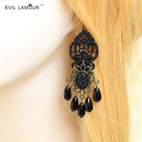 Goths drop earring women's pearl lace accessories earrings accessories jewelry