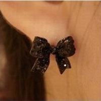 (Minimum order $ 10) E086 black bow tie ladies earrings cute earrings wholesale jewelry 3pair