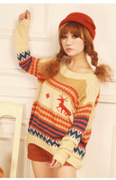 2012 winter new Japanese loose bat sleeve sweater pattern deer