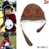 children winter pilot hat, baby earflaps beanie, airforce velvet cap, infant headwear, 10pcs/lot free shipping