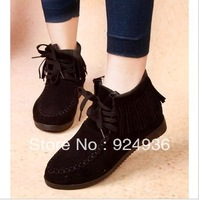 Free shipping Fashion Women Martin Boots Ankle Round Flat Toe Lace-up Solid Suede Cow Muscle Motorcycle Boots