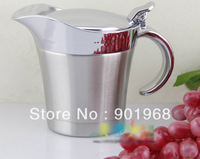 Hot sell Home restaurant hotel bar dinner ware double walls stainless steel 400ml steak sauce holder sauce boat jug