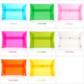 Free shipping 2015 New Summer Fashion Unisex PVC Transparent Envelope Clutch ipad mini Bag Handbag Clear Color women handbags