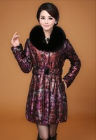 2013 Winter Women's Real Printed Sheepskin Leather Down Parkas Coat with Linning Cotton Fox Fur Collar Plus Size VK1170