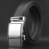 New men's classical auto lock steel buckle belt genuine cowskin leather waist belt#pk51