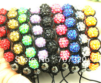 Min.Order ( $9.9 mixed) Wholesale lot new Resin Shamballa Bracelet, mix 19 colours, woman bracelet beaded jewelry SB7153A