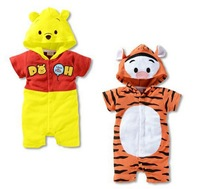 free shipping Male and female baby tigers and bear cartoon shape short sleeve hooded Romper