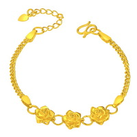 Top Quality 14k yellow gold plated placer Three flower snake skin chain bracelet for lover gift Free Shipping