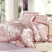FREE SHIPPING  Wedding four piece set bedding luxury big jacquard satin four piece set soft cotton piece set