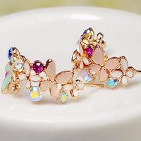 (Minimum order $ 10) E087 Butterfly flower garlsemi-circle Crystal butterfly earrings flower  woman jewelry 3pair