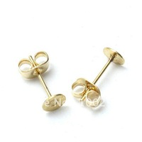 Free ship!!!2000piece/lot with 6mm pad Gold plated Earring post and earnut earring back stopper for earring stud Jewely findings
