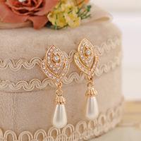 (Minimum order $10) 2014 new  E408 Korean noble hearts full Crystal pendant earrings pearl rose jewelry 3pair
