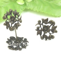 Free ship!!! bronze flower 15mm base 500pcs/lot earring wire neddle earring finding ear nail jewelry finding
