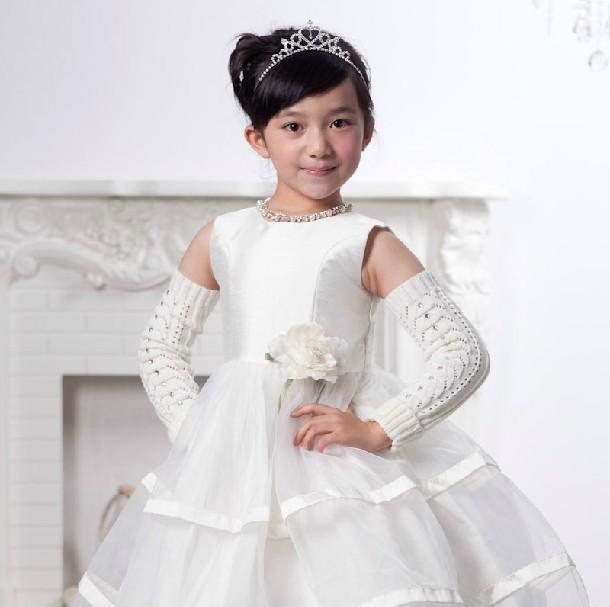 White princess dress little girl wedding dresses junior for Lil girl wedding dresses