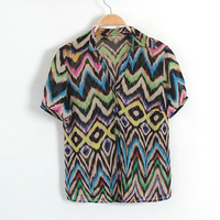 New arrival pq05 2013 women's summer small V-neck brief personalized print short-sleeve chiffon shirt 0.1