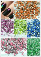 3000PCs Mixed Fluorescent Color Round Metal Nail Art Decoration Metallic Nail Studs Drop 2mm N031