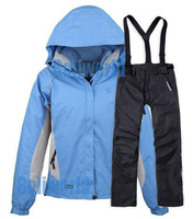 TWO pieces sport suit/ female outdoor sport suit/women winter ski snow suit/top hoodie jacket,strap pants Wind and Water-proof