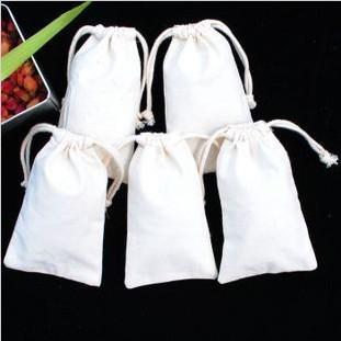 Free Shipping W12 x H15cm Natural Plain Cotton Muslin Drawstring Pouch Bag Bath Bag Herbs Bag(China (Mainland))