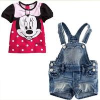 free shipping Children's clothing  female child casual MINNIE denim spaghetti strap set 5sets