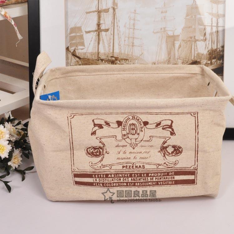 Excellent cotton hemp waterproof dual-order box book cd snacks storage box storage cosmetics storage basket(China (Mainland))