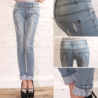 Long high waist vintage all-match buckle retro finishing distrressed jeans skinny pants pencil pants