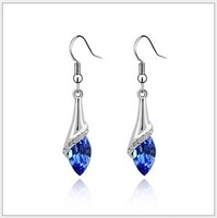 Ladies Designer Earrings With Water Drop Crystal