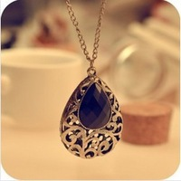 Kpop Vintage water drop acrylic gems Long sweater Necklaces Alloy FreeShipping/Wholesale HL11207
