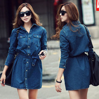 women's autumn and winter women ladies casual fashion personality belt long-sleeve denim shirts blouse outerwear
