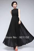 Free Shipping B6116 2013 Women's Fashion Collection Plus Size Charming Bowtie V-back Sleeveless Maxi Chiffon Party Dress Black