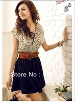 Free Shipping B6027 Round Neck Ruffles Polka Dots Waisted Bowtie Back Color Block Sweet Chic One-piece Dress