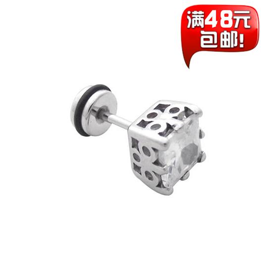 Broca quadrado brinco meninos parafuso prisioneiro brinco masculino brinco de titânio jóias roxo único(China (Mainland))