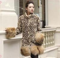 2014 autumn and winter hot-selling women's fashion slim long designer leopard print fur coat thermal villus overcoat S~XXL